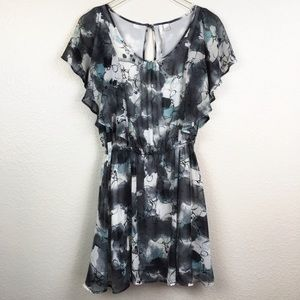LC Lauren Conrad Floral Watercolor Ruffle Dress